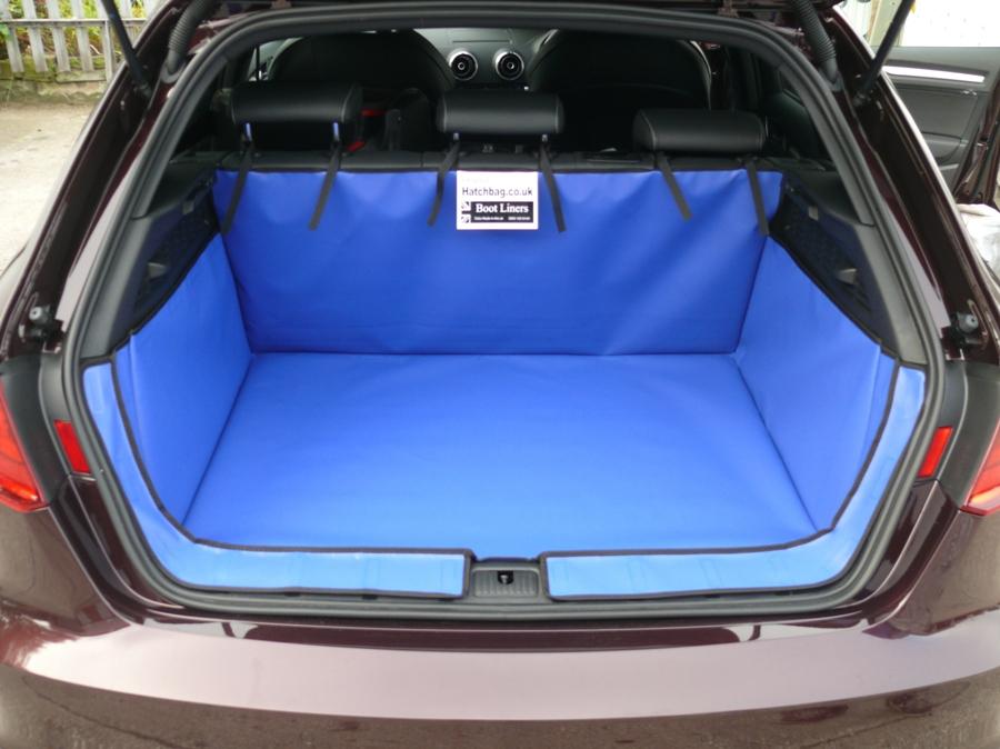 Blue bootliner in car