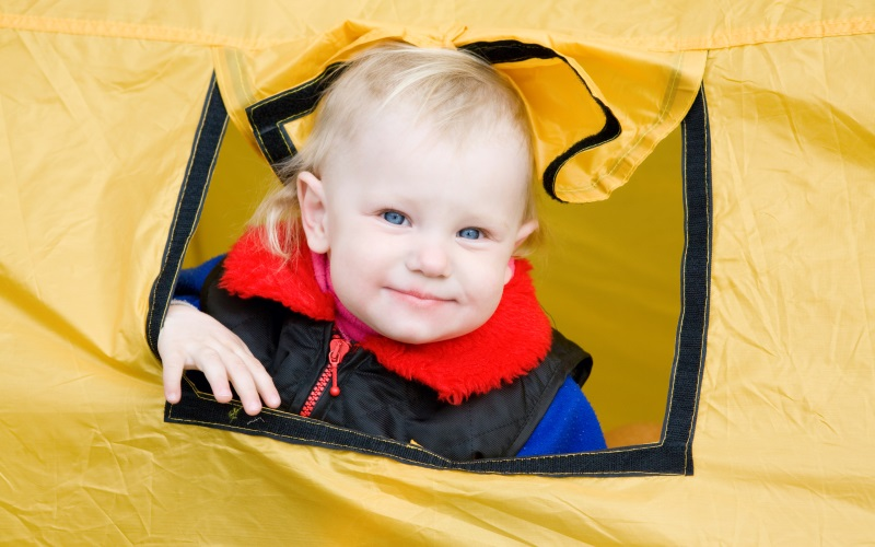 baby in a tent